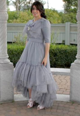 Bluish Grey Evening Gown Photo 1