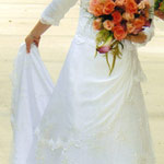 Magnificent custom made size 2 wedding gown for sale: